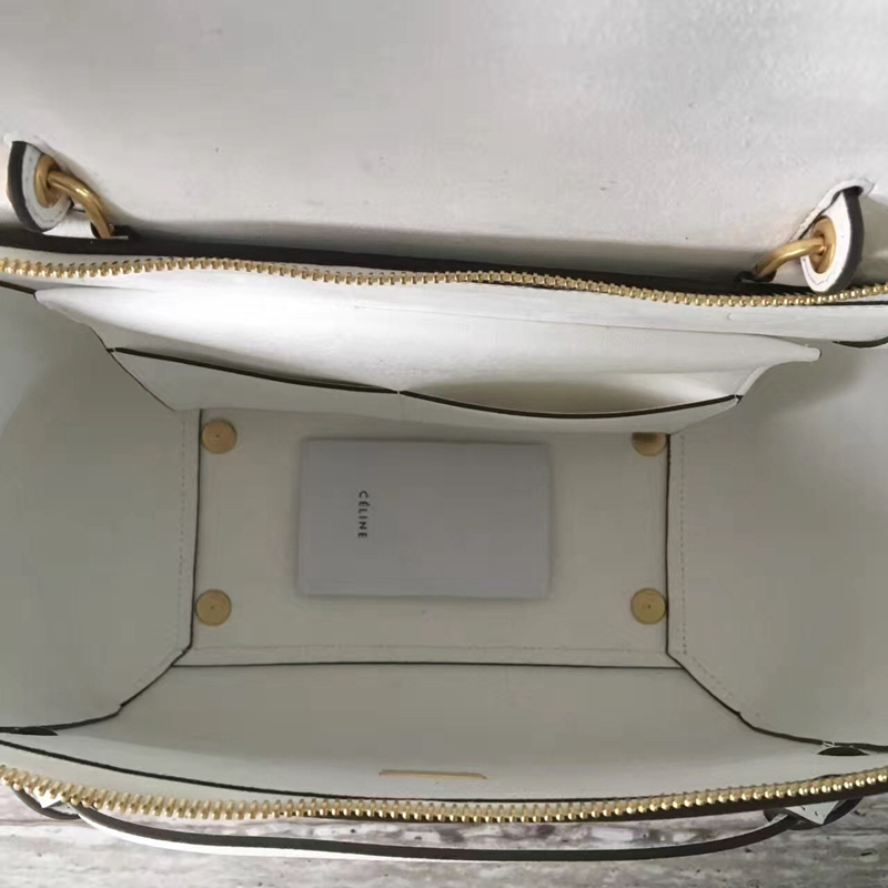 Celine Mini Belt Tote Bag In White Epsom Leather - Click Image to Close