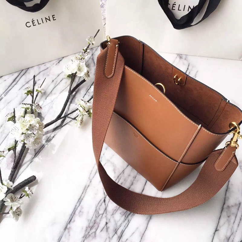 Celine Small Sangle Seau Bag In Brown Calfskin - Click Image to Close