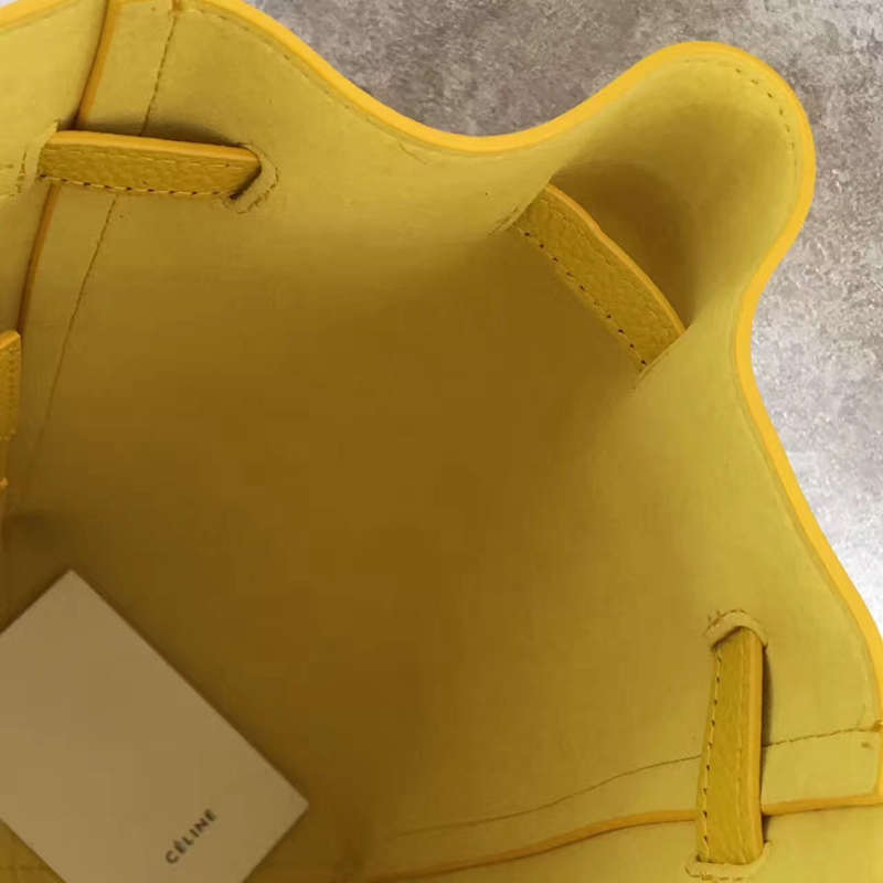 Celine Small Cabas Phantom Bag With Belt In Yellow Leather - Click Image to Close