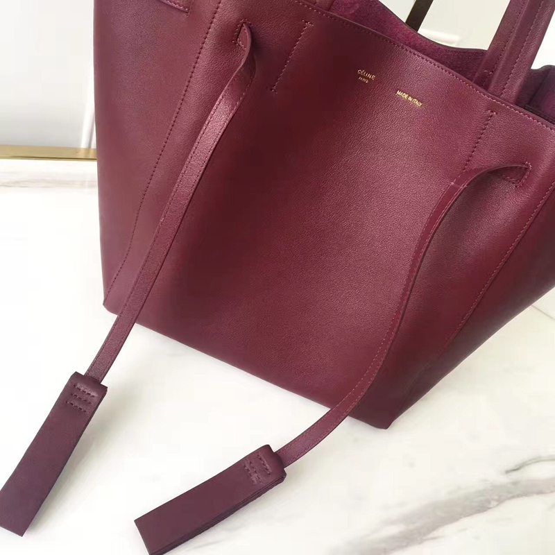 Celine Small Cabas Phantom With Tassels In Bordeaux Leather - Click Image to Close