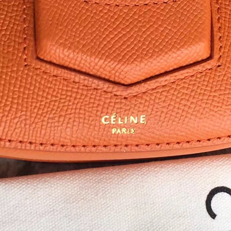 Celine Small Trotteur Bag In Orange Epsom Leather - Click Image to Close