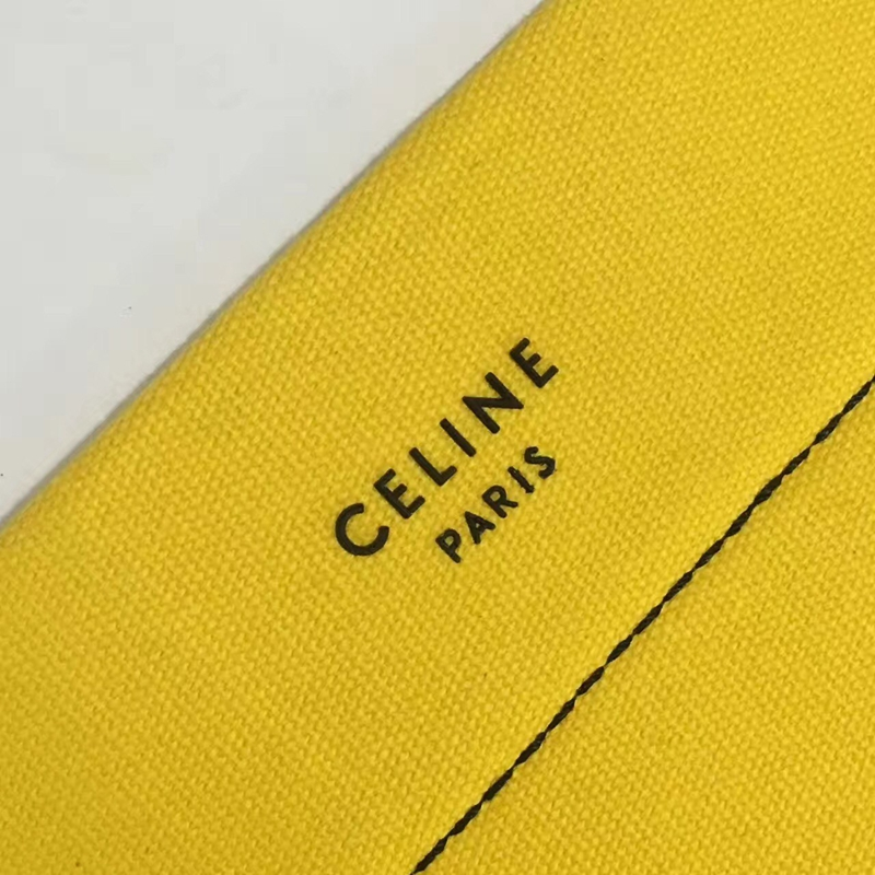 Celine Small Twisted Cabas In Yellow And White Washed Canvas - Click Image to Close