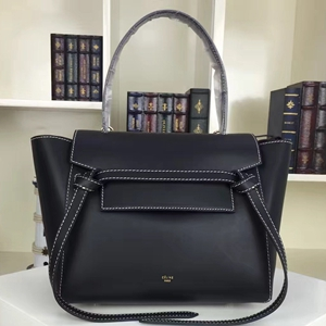 Celine Mini Belt Tote Bag In Black Calfskin