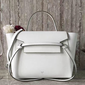 Celine Mini Belt Tote Bag In White Epsom Leather
