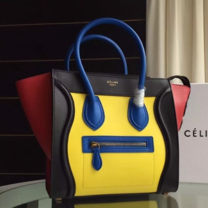 Celine Multicolour Micro Luggage Bag In Yellow Calfskin