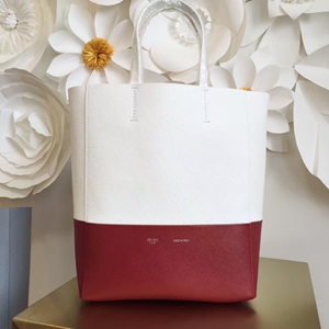 Celine Small Bi Cabas Bag In White/Red Leather