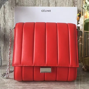 Celine Small Vertical Quilted Shoulder Bag In Red Leather