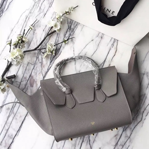 Celine Small Tie Tote Bag In Grey Grained Leather