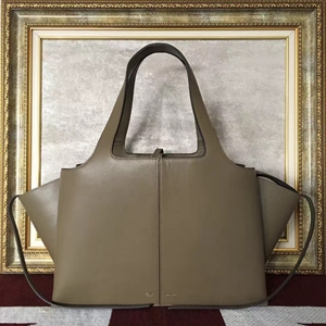 Celine Medium Tri-Fold Shoulder Bag in Khaki Calfskin