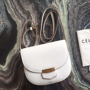 Celine Small Trotteur Bag In White Epsom Leather